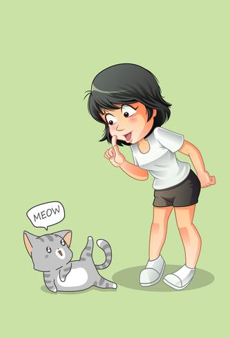 Girl is talking with cat in cartoon style.