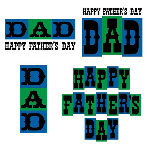 Happy Father's Day typography graphics blue and green vector