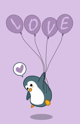 Pingüino sostiene 4 globos.