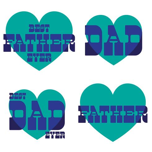 Father's Day mod typography graphics with blue hearts vector