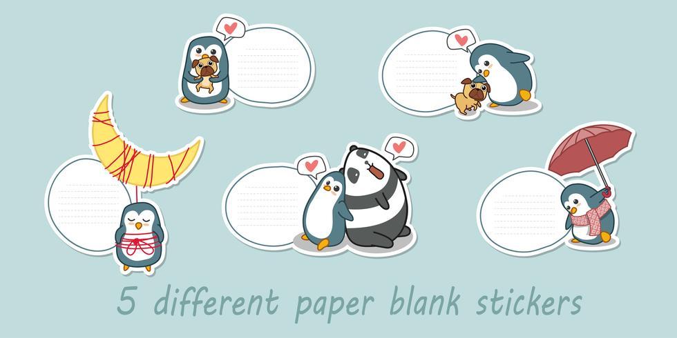5 verschillende papieren blanco stickers.