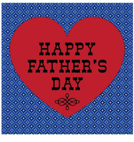 Father's Day typography graphic with red heart and bandana background pattern vector