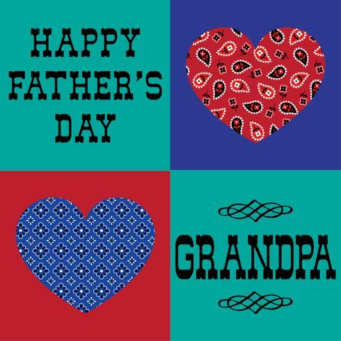 fête des pères papy avec des coeurs de bandana vecteur