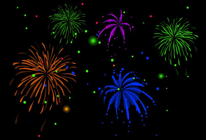 neon colored fireworks wallpaper vector