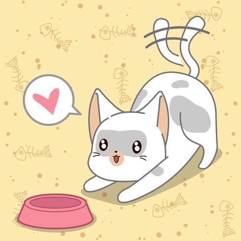 Nourrir le chat en style cartoon.