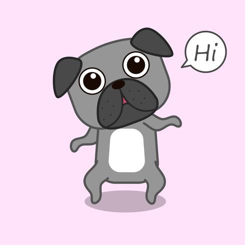 Söt hund säger hej i tecknadstil.