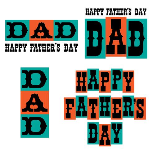 Happy Father's Day typography graphics blue and orange vector