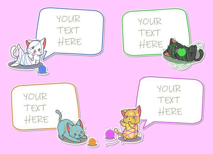 4 paper notes with cat cartoon characters. vector