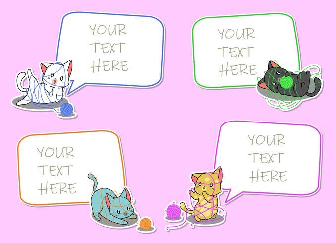 4 notas de papel con personajes de dibujos animados de gatos.