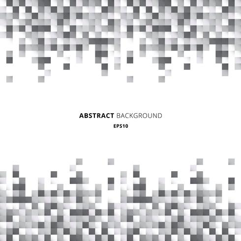 Abstract header and footers geometric white and gray squares pattern pixel background with copy space.  vector