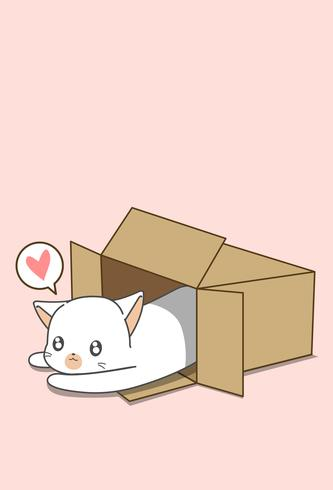 Liten vit katt i låda i tecknad stil.