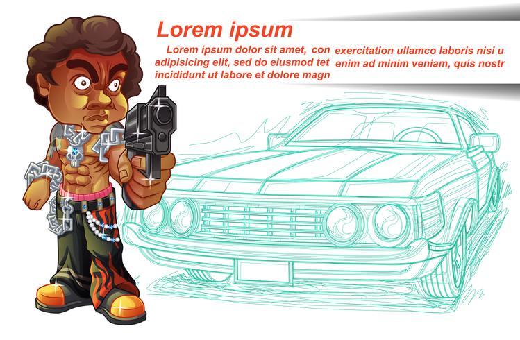 Il personaggio di Thug sta trasportando la pistola e lo sfondo del contorno dell'auto.