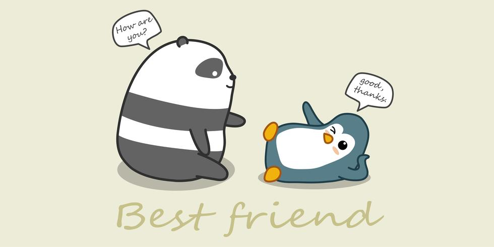 Panda and penguin are talking. vector