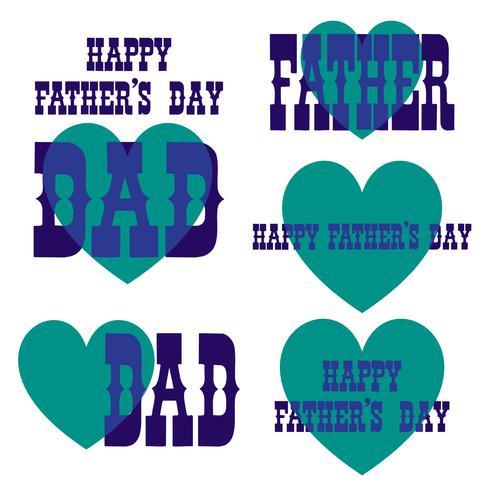Feliz dia dos pais sobrepostos gráficos de tipografia com corações vetor