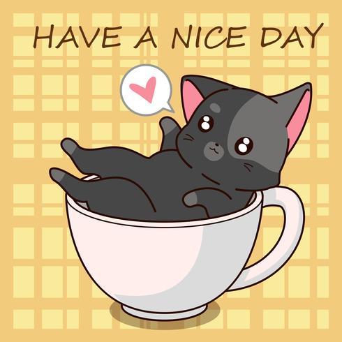 Gullig katttecknad i en kopp.