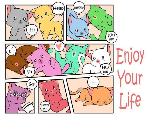 Gatos bonitos em estilo cômico.