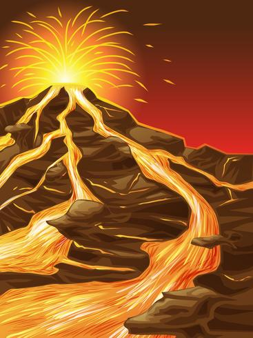 Le volcan est cassé dans un style de bande dessinée.