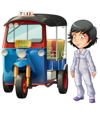 Vector isolated Thai driver and motor tricycle.