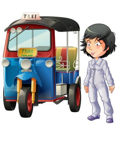 Vettore isolato pilota thailandese e triciclo a motore.