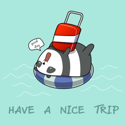 Panda på livbåge i havet.