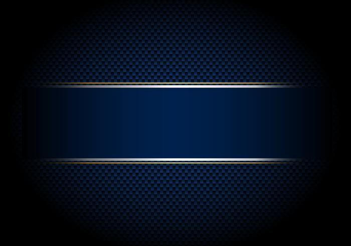 Carbon fiber background and texture and lighting with blue label and silver, gold line.