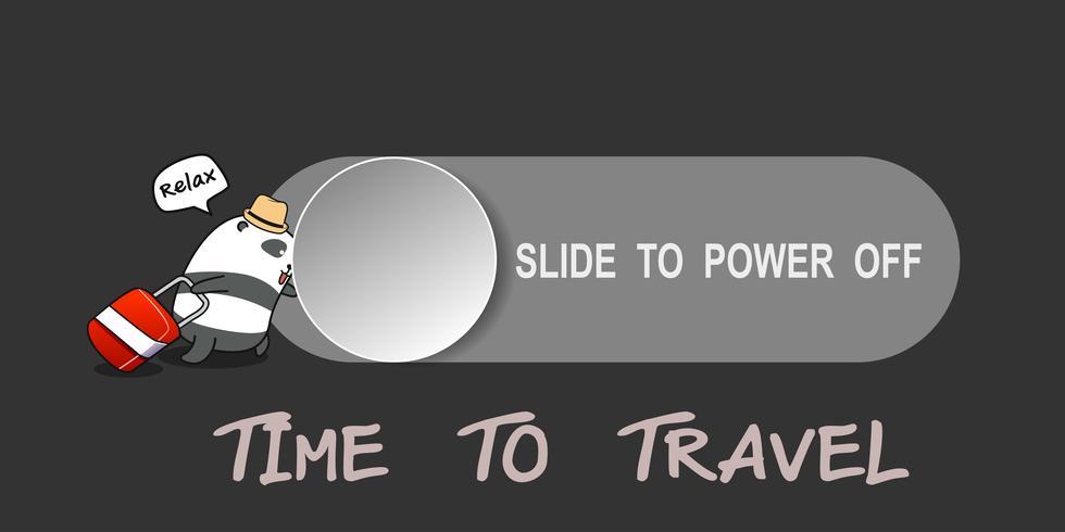 Panda está deslizando el pasador para apagar el teléfono móvil para las vacaciones que viajan.