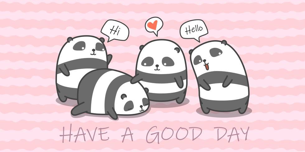 Familia panda en estilo de dibujos animados. vector