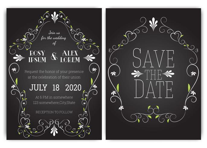 Hochzeitseinladungskarte Floral Hand gezeichneten Rahmen.