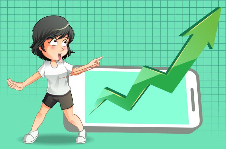 Ella está viendo un crecimiento de las acciones en el teléfono inteligente. vector