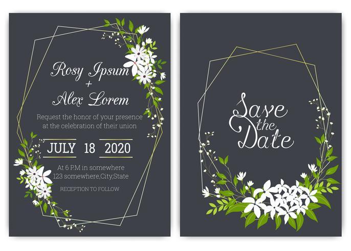Wedding invitation card Floral hand drawn frame . vector