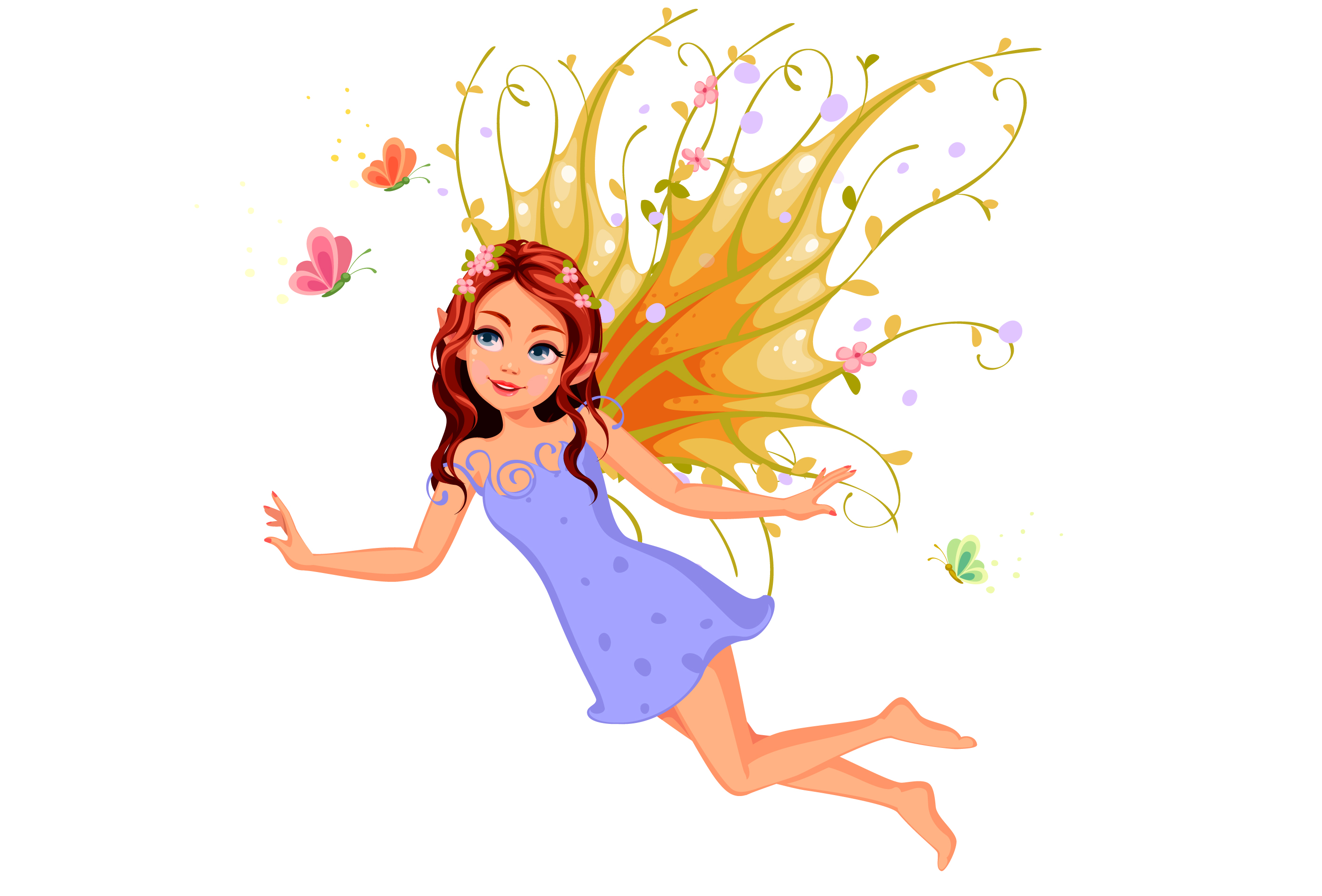 Beautiful nature fairy flying - Download Free Vectors
