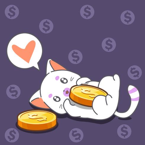 Katt och mynt i tecknad stil.