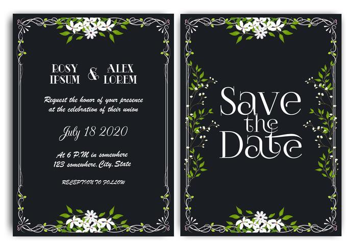 Cartão de convite de casamento Floral mão desenhada frame.