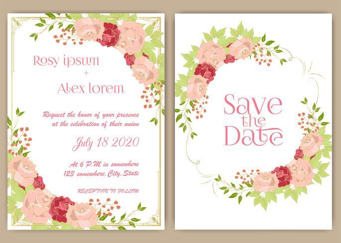 Tarjeta de invitación de boda Marco dibujado a mano floral. vector