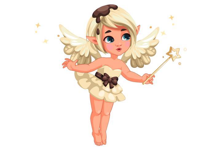 Cute little vanilla chocolate fairy vector