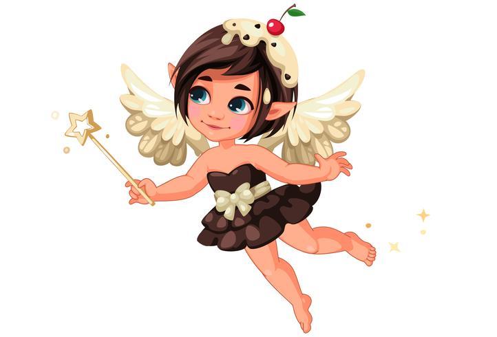 Cute little chocolate vanila fairy with cherry on head vector