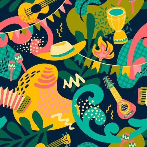 Latin American holiday, the June party of Brazil. Festa Junina. Seamless pattern