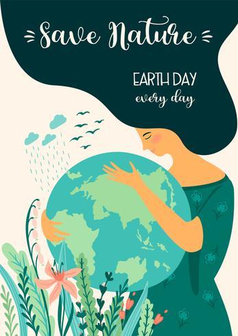 Salvar la naturaleza Día de la Tierra. Plantilla de vector, elemento de diseño