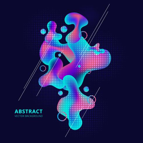Abstract trendy fluid shape bright gradient colors on dark background. vector
