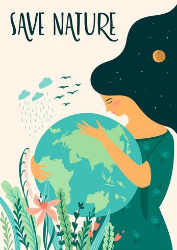 Red de natuur. Dag van de Aarde. Vectormalplaatje, ontwerpelement