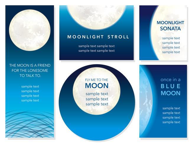 Conjunto de cinco cartões de vetor da noite de lua cheia.