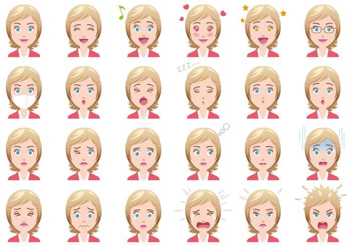 Conjunto de diversas expresiones faciales de empresaria.