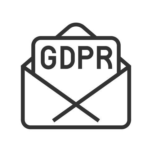 GDPR Allmänna dataskyddsförordning ikonen, linjestil