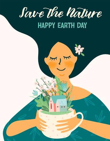 Dag van de Aarde. Vector sjabloon voor verschillende toepassingen Ontwerpelement