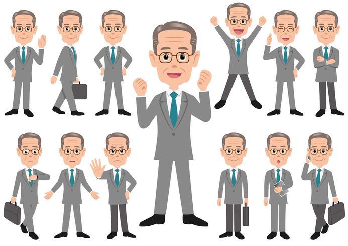 Hombre de negocios en diversas actitudes aislado en el fondo blanco.