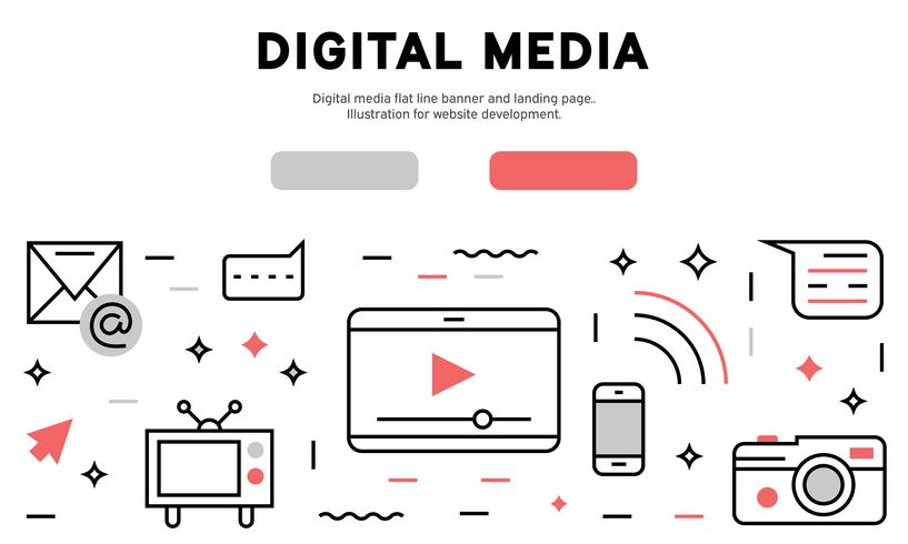 Banner de linha plana de mídia digital e página de destino. Ilustração para desenvolvimento de sites vetor