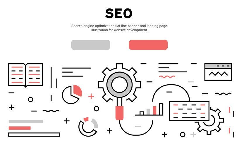 Suchmaschinenoptimierung flache Linie Banner und Landing Page. Illustration für die Website-Entwicklung