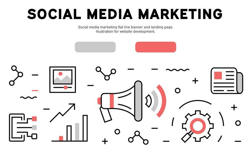 Social media marketing flat line banner and landing page. Illustration for website development