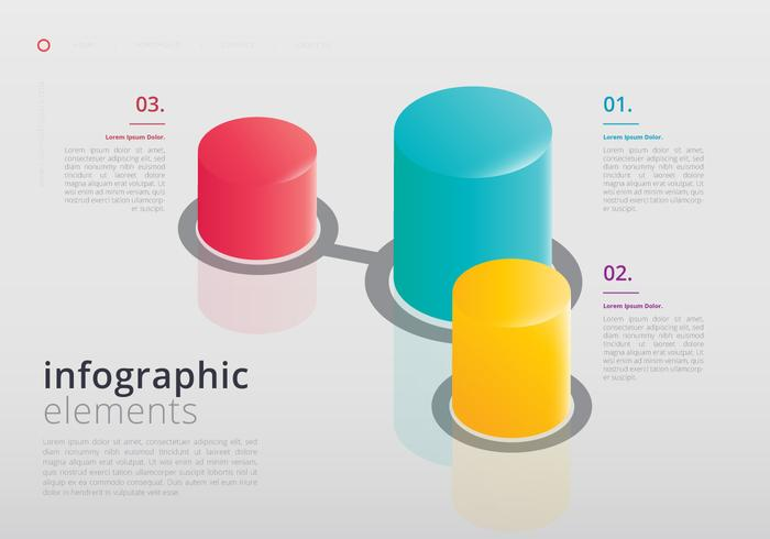 Elementos 3D infográfico vetor