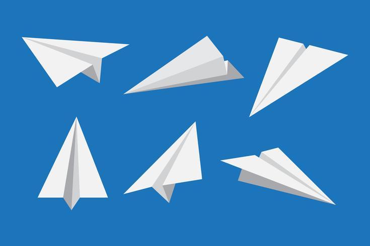 Avión de papel o conjunto de iconos de avión de origami - ilustración vectorial